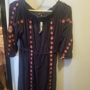 Nwt Loft off the shoulder embroidered dress